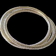 Pair Interlocking Sterling Silver 925 Bangle Bracelets