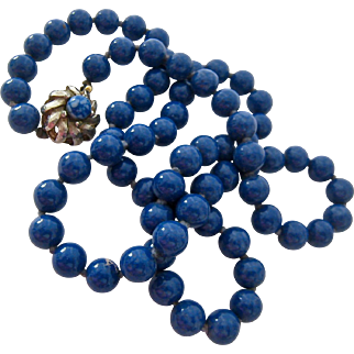 Mottled Blue Glass Bead Necklace Hand Knotted Elegant Clasp