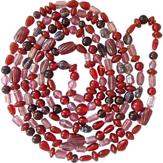Shades of Red Long Endless Multi-Shape Bead Necklace 60 Inches