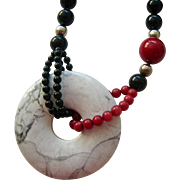 Multi- Gemstone Bead Necklace with Disk Pendant Sterling Accents Hand Knotted Endless