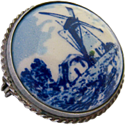 835 Silver Round Painted Porcelain Windmills Pin Dutch Hallmarks