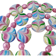 "Pastel Glass ""Candy"" Disk  Necklace Endless"