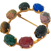 Gemstone Scarab Circle Pin Brooch
