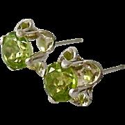 Sterling Silver 925 Peridot Buttercup Setting Post Earrings