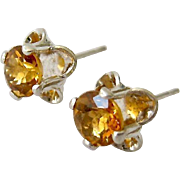 Sterling Silver 925 Citrine Earrings Buttercup Setting