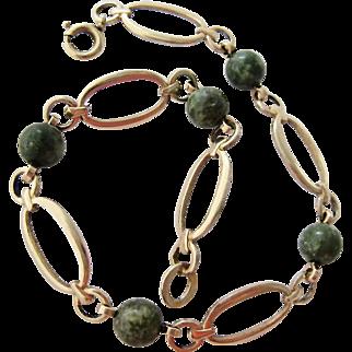 Krementz Gold Plate Bracelet with Green Gemstone Beads