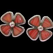 Sterling Silver 925 Flower Earrings Pink Striated Stones