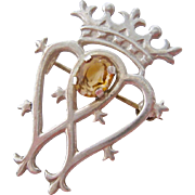 Sterling Silver 925 Scottish Luckenbooth Brooch with Citrine Fully Hallmarked Edinburgh 1972