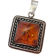 Sterling Silver 925 Amber Pendant Square