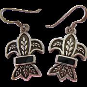Sterling Silver 925 Black Inlay Wheat Sheaf Dangle Earrings