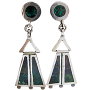 Sterling Silver 925 Hinged Dangle Earrings with Multi-Color Inlay