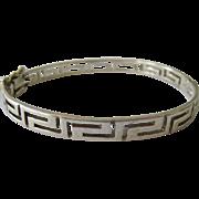 Sterling Silver 925 Greek Key Hinged Bangle Bracelet