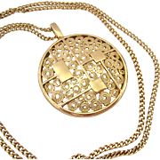 Sarah Coventry Round Gold Tone Pendant Necklace Mod Design