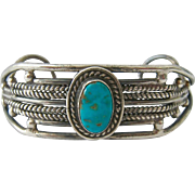 Hand Wrought Sterling Cuff Bracelet with Turquoise Color Stone