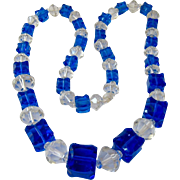 Stunning Graduated Cobalt and Clear Glass Necklace Endless