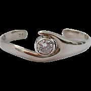 Sterling Silver 925 Cuff Bracelet with Large Bezel-Set Clear CZ