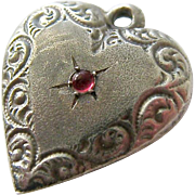 Sterling Silver 925 Puffy Heart Charm Pendant Red Cabochon Engraved