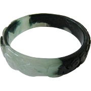 Carved Two Tone Green Jade Bangle Bracelet
