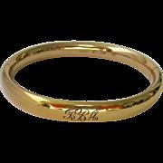 12K Gold Filled Hinged Engraved Dated Bangle Bracelet Carl Art