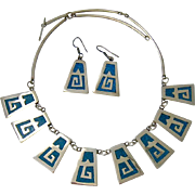 Alpaca Turquoise Necklace and Earring Set