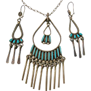 Zuni Claudine Penketewa Sterling Silver 925 Turquoise  Necklace Earring Set