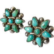 Sterling Silver 925 Turquoise Colored Flower Screw Back Earrings