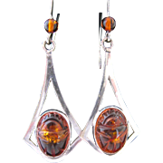 Sterling Silver 925 Carved Amber Scarab Dangle Earrings