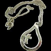 Sterling Silver 925 Cross Pendant Necklace Swedish Sporrong Hallmarks 1988