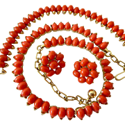 Vintage Crown Trifari Faux Coral Gold Tone Parure Necklace Bracelet Earrings