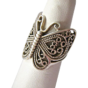 Huge Sterling Silver 925 Butterfly Ring