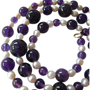 Amethyst Bead Cultured Pearl Necklace Sterling Silver 925 Clasp