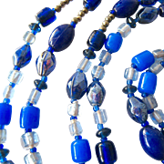 Long Endless Shades of Blue Glass Bead Necklace 60 Inches