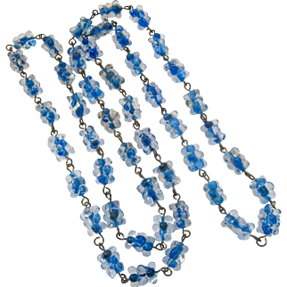 Blue Clear Cluster Glass Bead Necklace Endless Wired 33 Inches