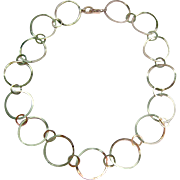 Sterling Silver 925 Open Circle Link Necklace Toggle Clasp