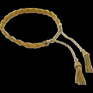 Vintage 12K Gold Filled Mesh Bracelet with Tassels Signed