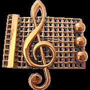 Renoir Copper Pin Brooch Musical Treble Clef Staff