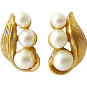 Vintage Kramer Clip Earrings Gold Tone Simulated Pearls