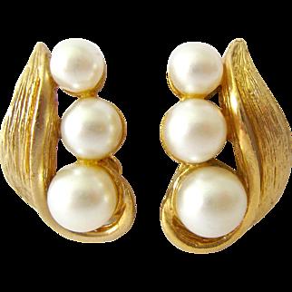 Vintage Kramer Clip Earrings Gold Tone Simulated Pearls