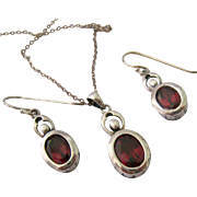 Sterling Silver 925 Garnet Pendant Necklace and Earring Set
