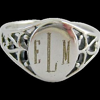 Sterling Silver 925 Filigree Signet Ring