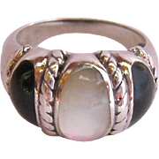 Sterling Silver 925 Black and White Inlay Ring