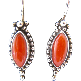 Sterling Silver 925 Coral Locking Wire Earrings