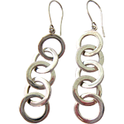 Sterling Silver 925 Earrings Interlocking Dangling Rings
