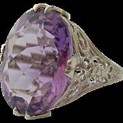Vintage 14K White Gold Amethyst Filigree Ring Estimated 7.1 Ct