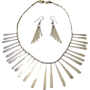 Dramatic Impressive Sterling Silver 925 Fringe Necklace and Earring Set