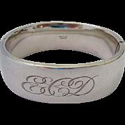 Wide Sterling Silver 925 Hinged Bangle Bracelet Signed Hayward