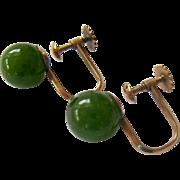 14K Gold Green Gemstone  Ball Screw Back Earrings