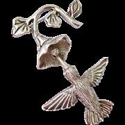 Sterling Silver 925 Hummingbird Flower Brooch Articulated