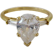 Stunning14K Gold Clear CZ Ring