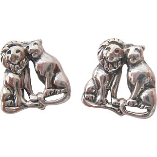 Sterling Silver 925 Lion and Lioness Earrings
